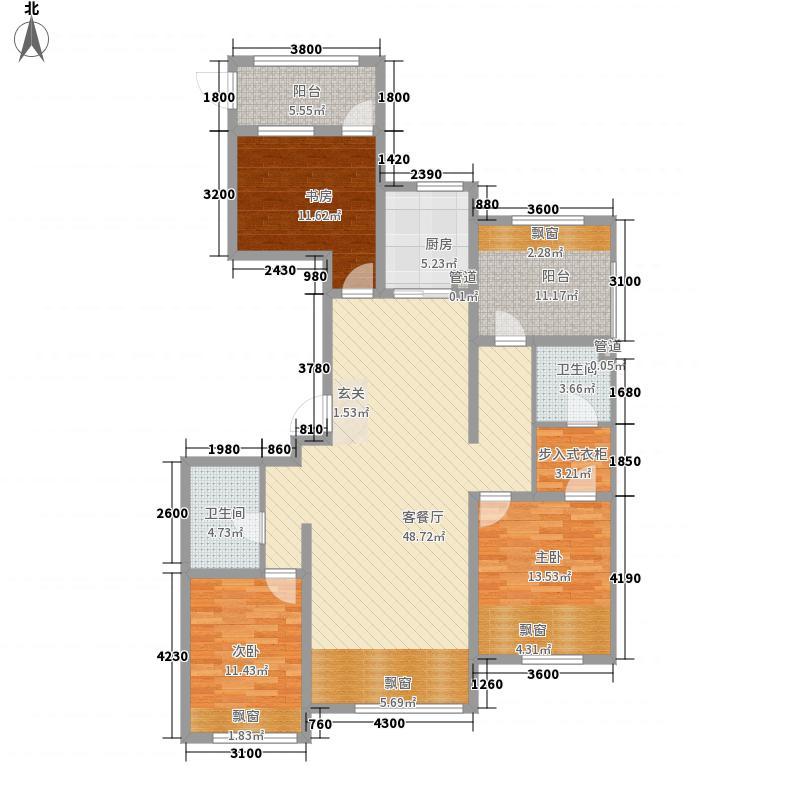 潮白河孔雀英国宫3室1厅2卫1厨167.00㎡户型图