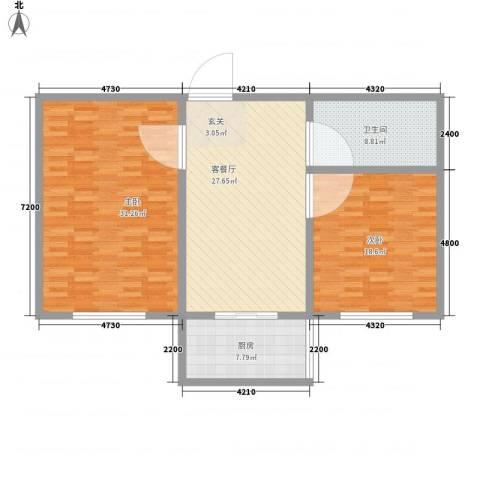 香槟小镇2室1厅1卫1厨94.10㎡户型图