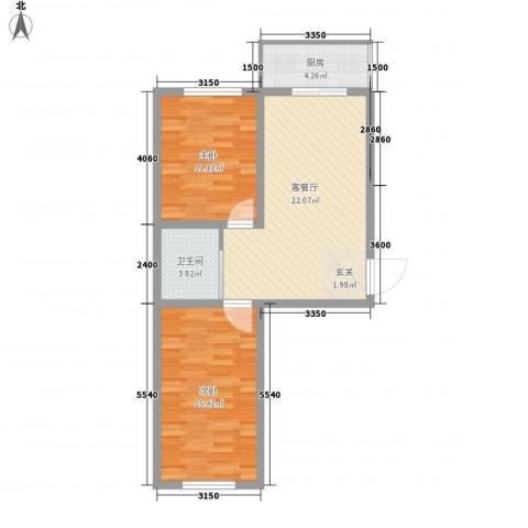 香槟小镇2室1厅1卫1厨56.69㎡户型图