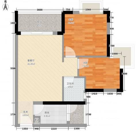 豪苑大厦(樟木头)2室1厅1卫1厨75.00㎡户型图