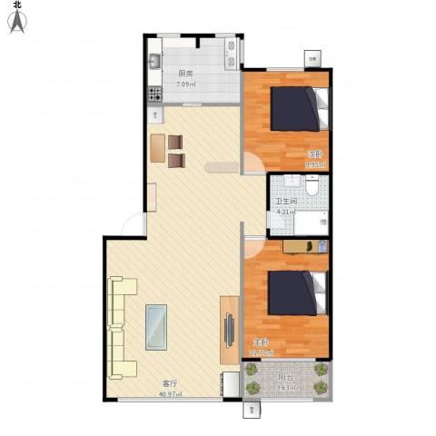 三山新新家园-88平两居室2室1厅1卫1厨104.00㎡户型图