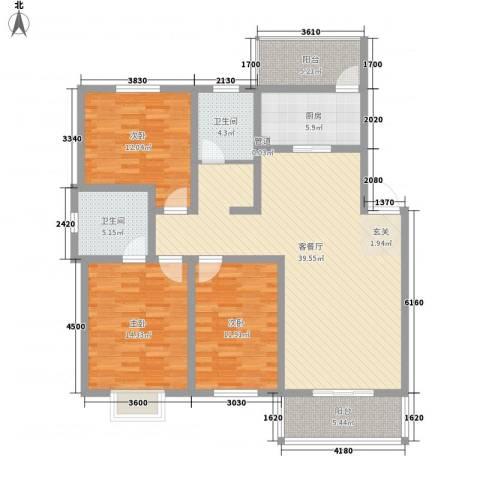 怡华香缇丽舍3室1厅2卫1厨126.00㎡户型图