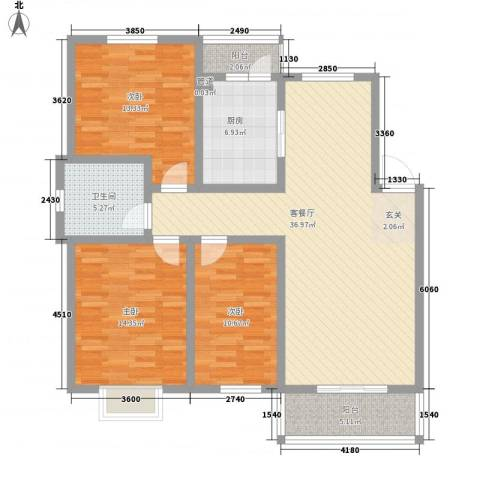 怡华香缇丽舍3室1厅1卫1厨117.00㎡户型图
