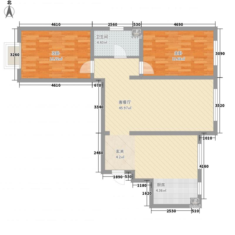 乌兰小区1户型2室2厅1卫1厨
