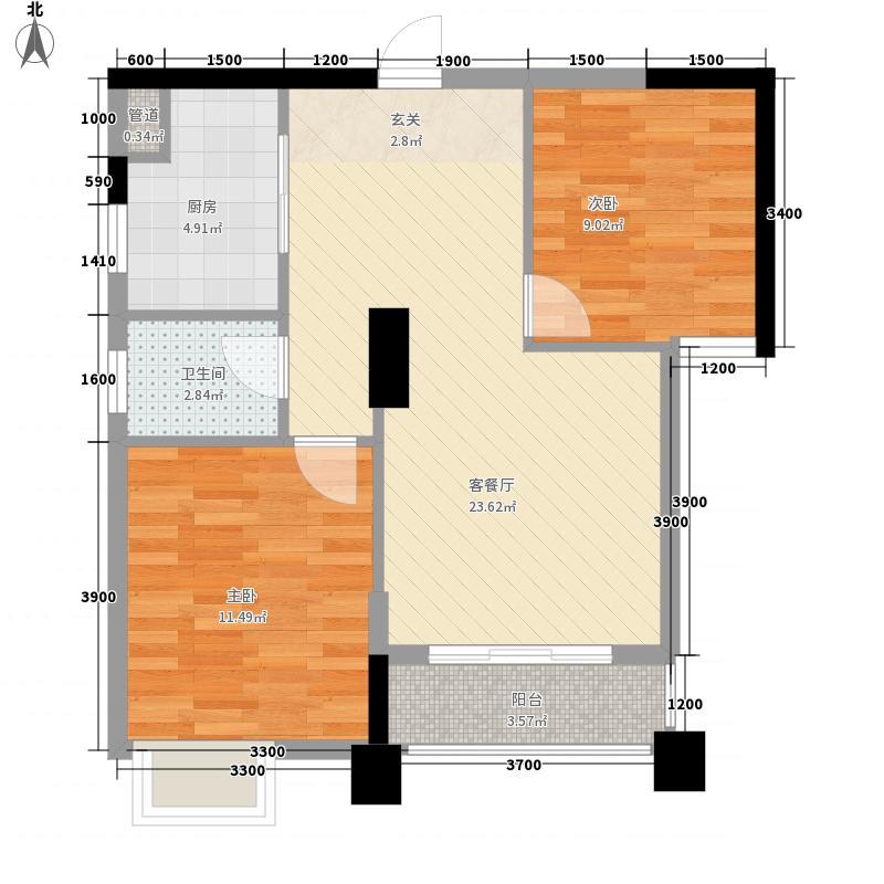 宏基月湖湾两居室27户型2室1厅1卫1厨