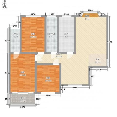 煤炭医院家属楼3室1厅2卫1厨153.00㎡户型图