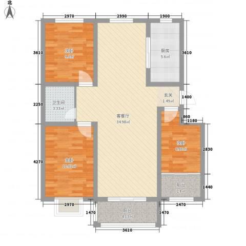 洪永・紫荆花园西区3室1厅1卫1厨114.00㎡户型图
