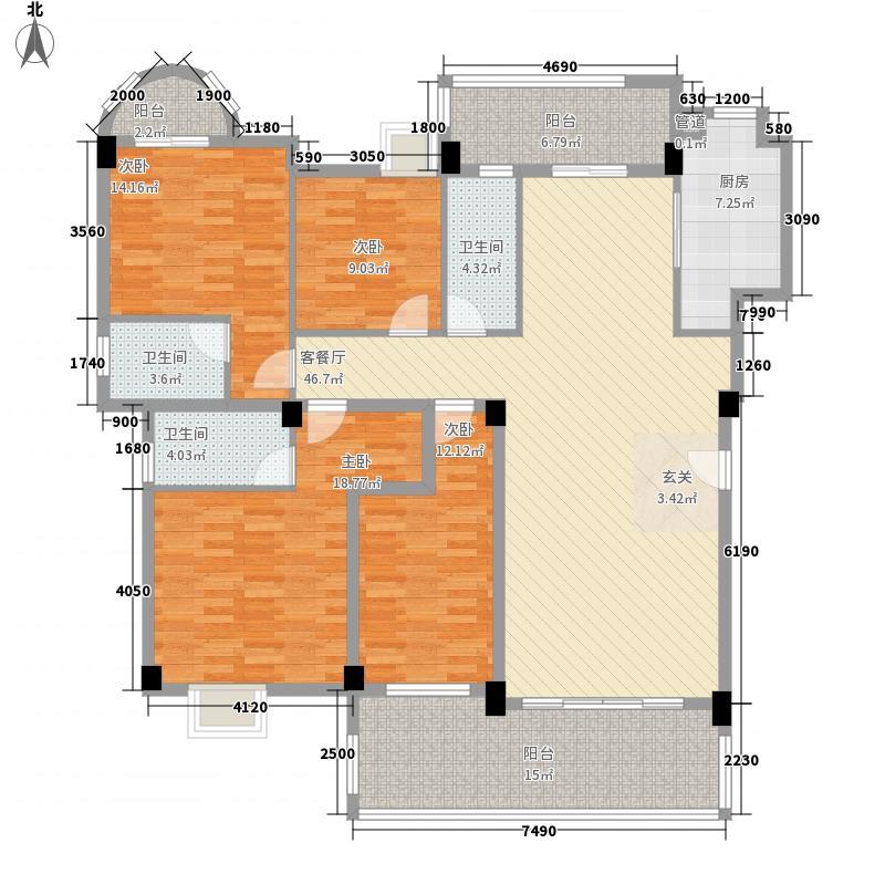 环城・尚�园16.38㎡8/9座01标准层户型4室2厅3卫1厨