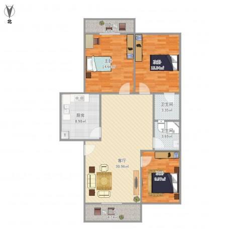 实力花苑3室1厅2卫1厨125.00㎡户型图
