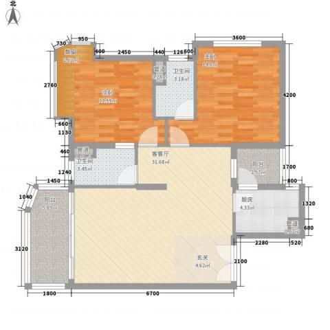 嘉宝花园二期2室1厅2卫1厨105.00㎡户型图