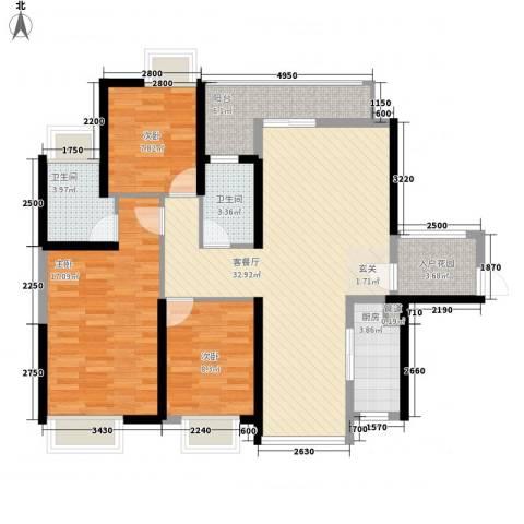 锦龙又一城二期君誉3室1厅2卫1厨97.00㎡户型图