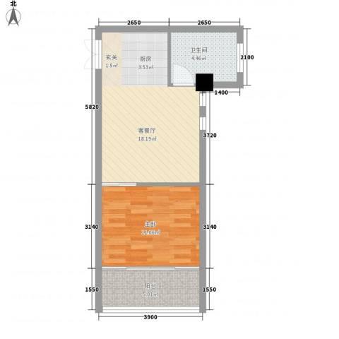 金色领地1室1厅1卫0厨56.00㎡户型图