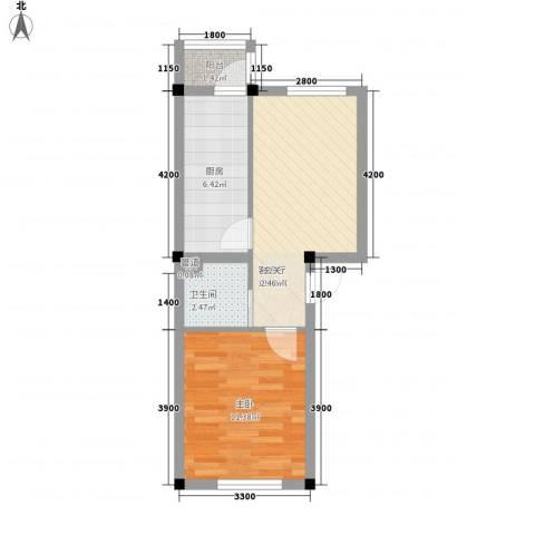 彩虹风景1室1厅1卫1厨46.00㎡户型图