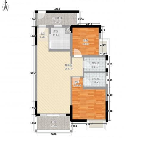 锦龙又一城二期君誉2室1厅2卫1厨87.00㎡户型图