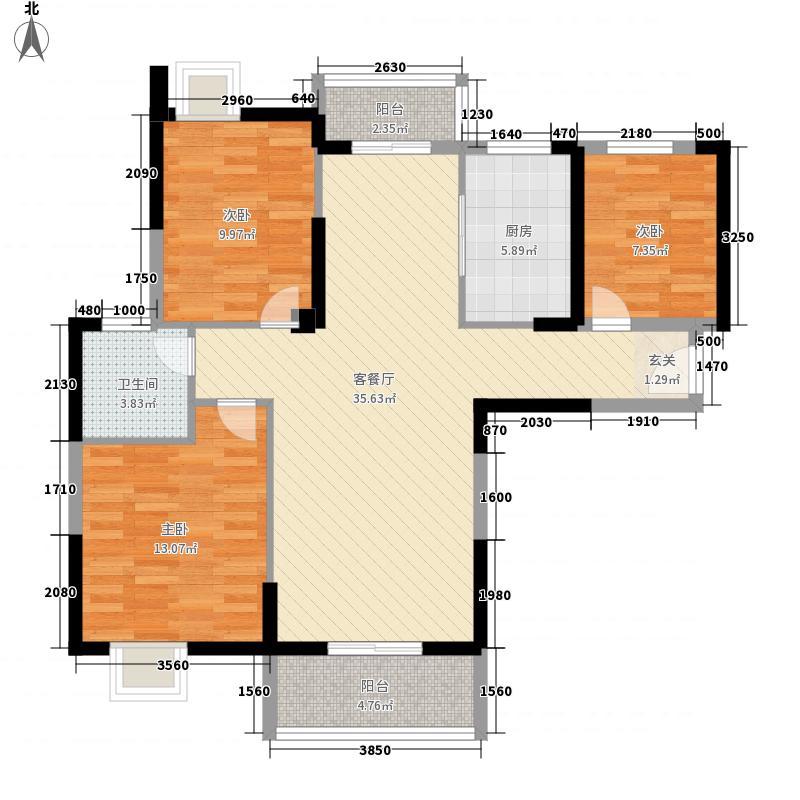 金地天悦118.00㎡B3号楼B-1户型3室2厅1卫1厨
