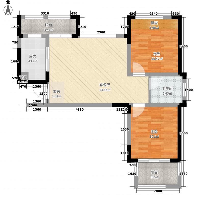 高速・滨湖时代广场88.00㎡G3、G5#楼B6户型2室2厅1卫1厨