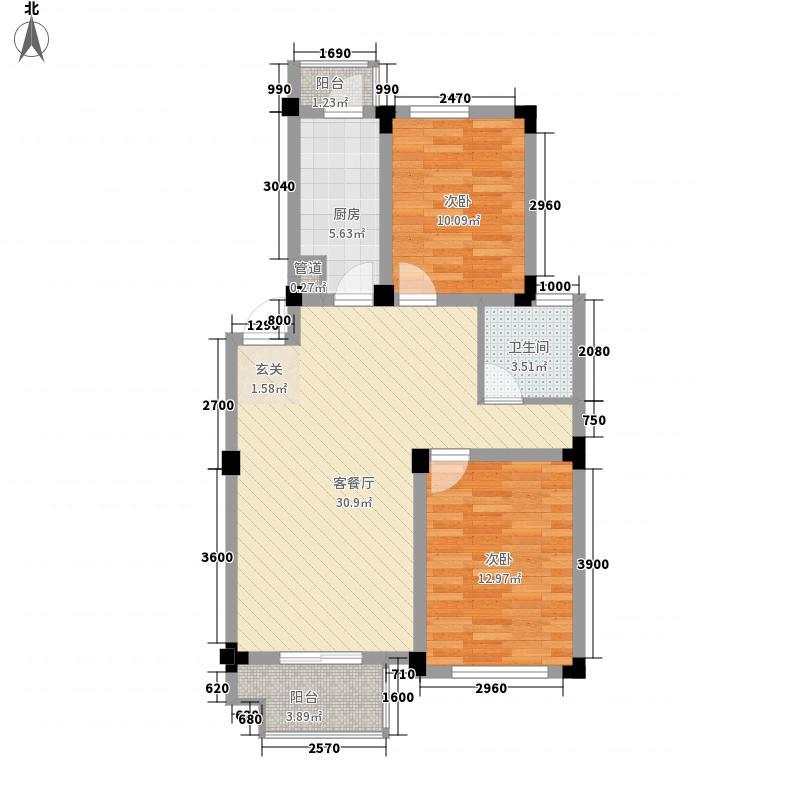 诚发水岸花园户型图18#楼02户型 2室2厅1卫1厨