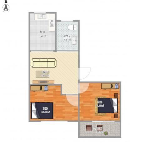 后宰门西村2室1厅1卫1厨72.00㎡户型图