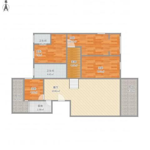 龙洲湾花园223户型4室1厅2卫1厨108.00㎡户型图