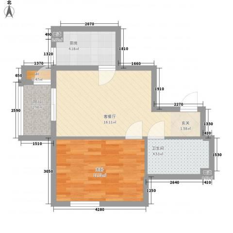 启迪园1室1厅1卫1厨59.00㎡户型图