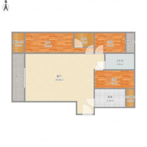 金地上塘道花园3室1厅1卫1厨111.00㎡户型图