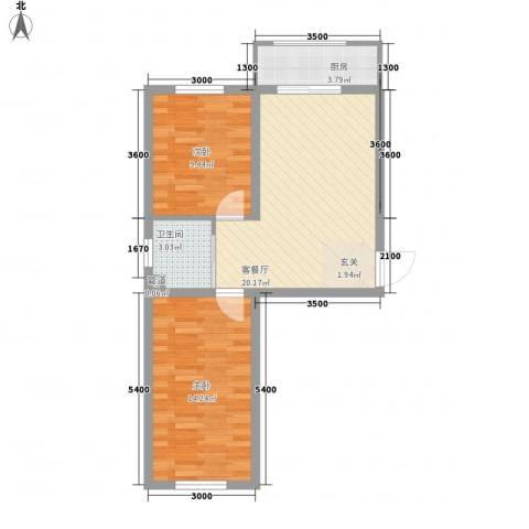可心居2室1厅1卫1厨67.00㎡户型图