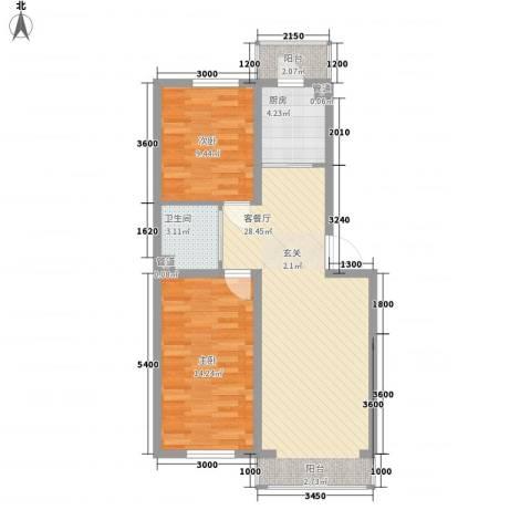 可心居2室1厅1卫1厨83.00㎡户型图