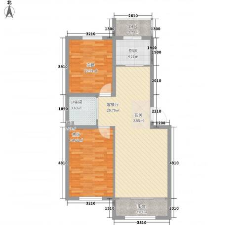 幸福里田园都市2室1厅1卫1厨90.00㎡户型图