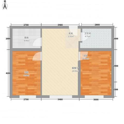 幸福里田园都市2室1厅1卫1厨66.00㎡户型图