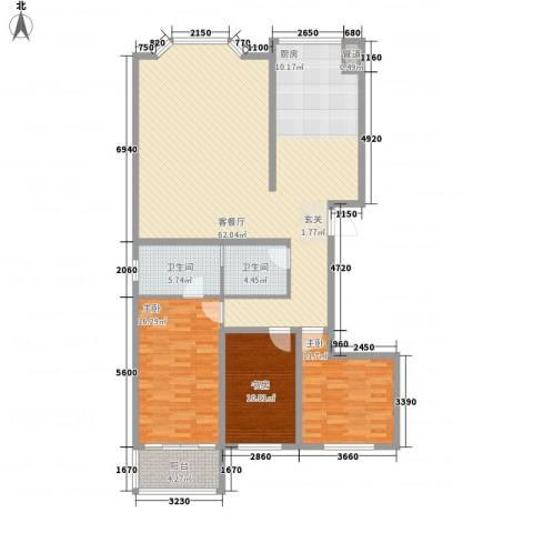 建龙水韵名城3室1厅2卫0厨164.00㎡户型图