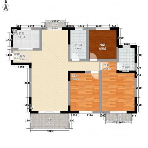 银河湾紫苑3室1厅2卫1厨137.00㎡户型图
