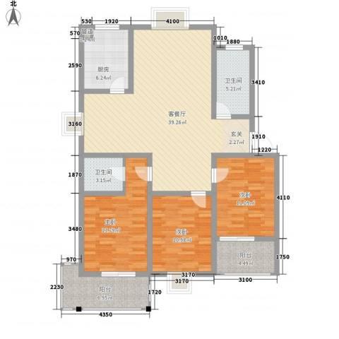 仲宫山水庭院3室1厅2卫1厨145.00㎡户型图