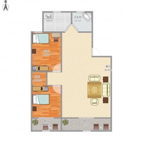 金田花园2室1厅1卫1厨98.00㎡户型图