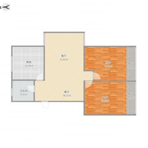 永康苑2室1厅1卫1厨125.00㎡户型图