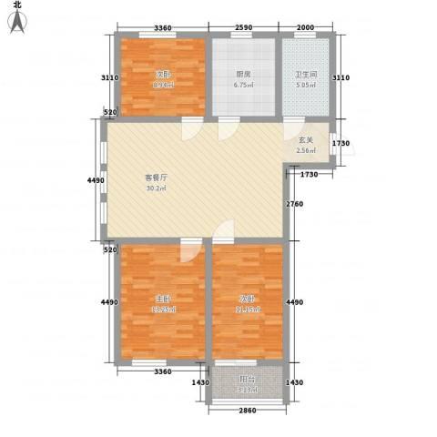 永安花园3室1厅1卫1厨113.00㎡户型图