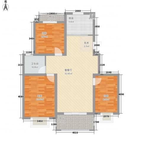 银河湾紫苑3室1厅1卫1厨117.00㎡户型图