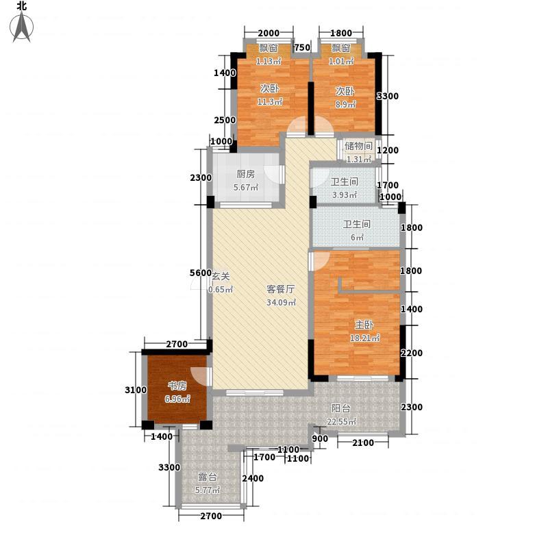 联投金色港湾剑桥郡125.44㎡1、3、8-12栋2-1户型3室2厅2卫1厨