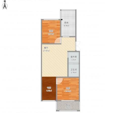 杨庄22号院2室2厅1卫1厨56.00㎡户型图