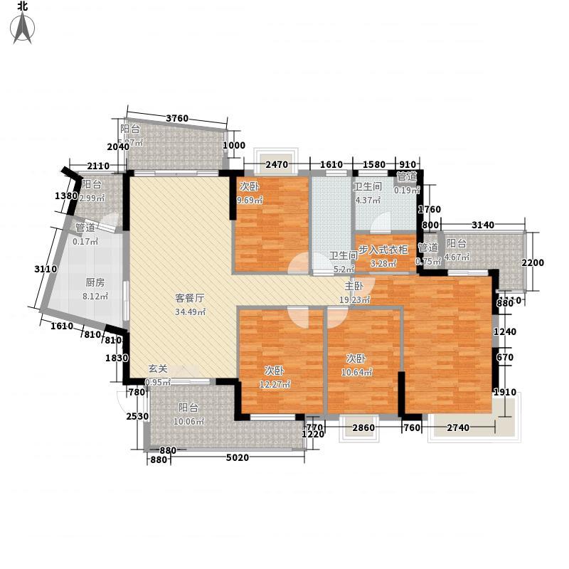 香江紫钻一期3、4、5栋E4标准层户型4室2厅2卫1厨