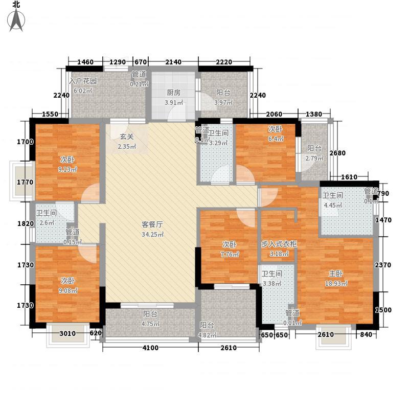 中业新城182.86㎡1幢04+05单元户型5室2厅4卫1厨