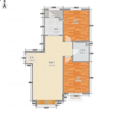 长江杰座2室1厅1卫1厨100.00㎡户型图