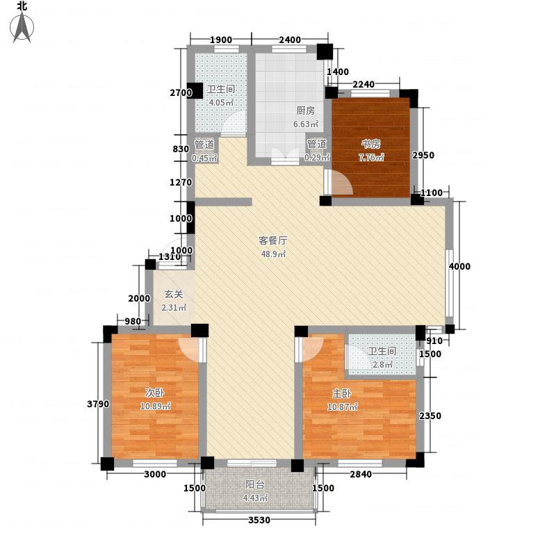 诚发水岸花园户型图16#楼04户型 3室2厅1卫1厨
