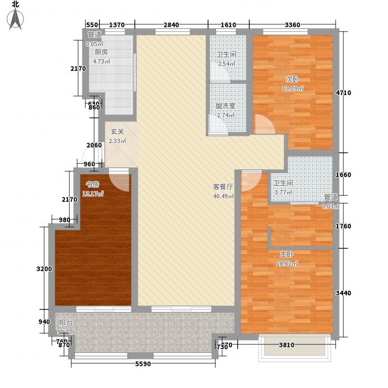 保利中心华府14.00㎡【团购】二期2#楼中间户E户型3室2厅2卫1厨