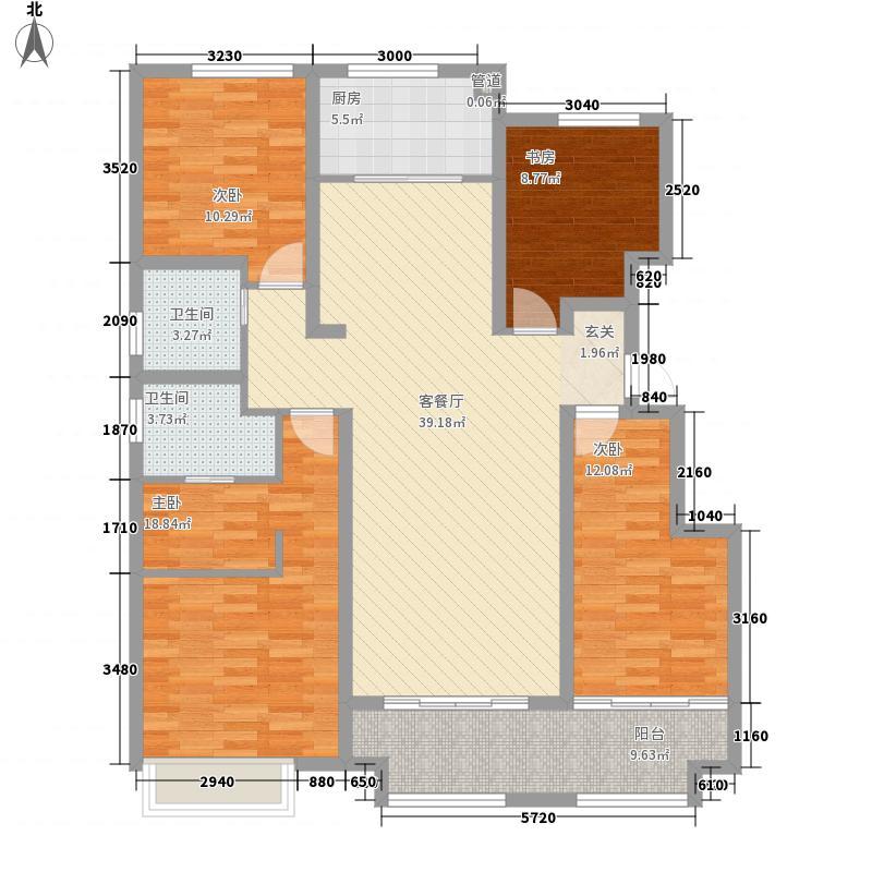 保利中心华府15.00㎡【团购】二期2#楼边户D户型4室2厅2卫1厨
