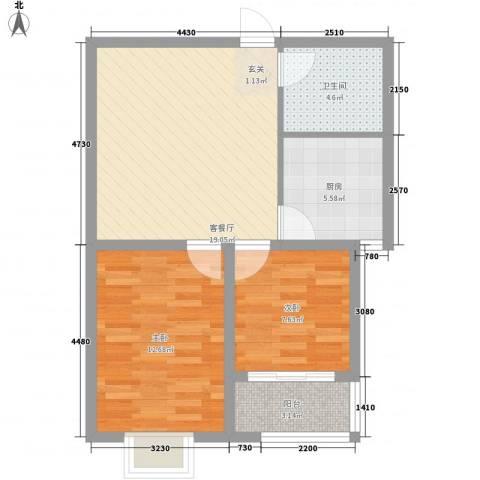 银枫家园2室1厅1卫1厨76.00㎡户型图