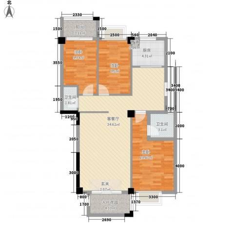 怡景苑3室1厅2卫1厨84.28㎡户型图