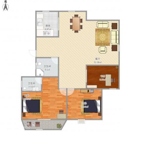 金田花园3室1厅2卫1厨150.00㎡户型图