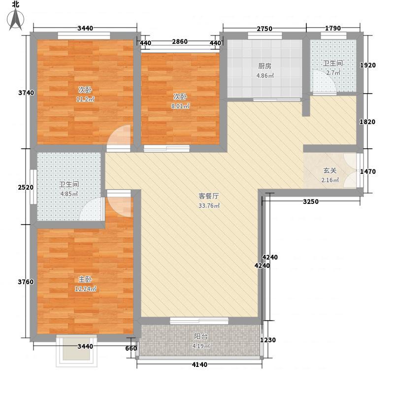 豫龙之春117.10㎡一期F-1户型3室2厅2卫1厨