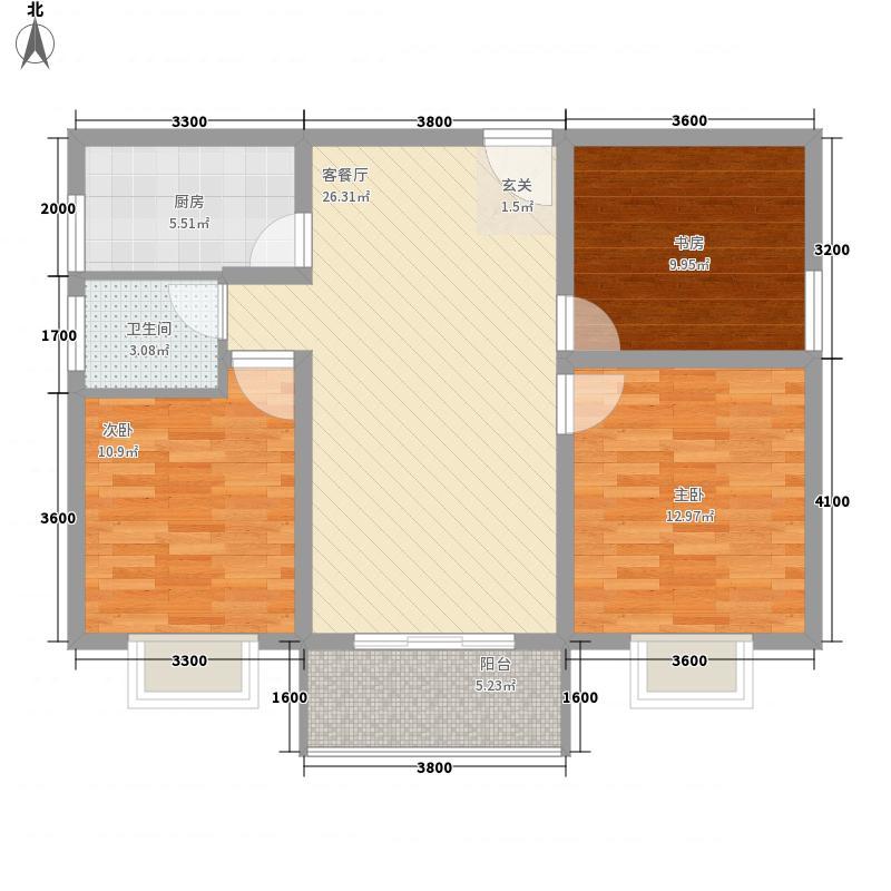 京海湖综合楼12.50㎡B-2户型3室2厅1卫1厨