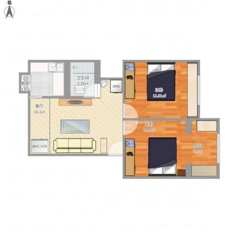 盘龙花园2室1厅1卫1厨68.00㎡户型图